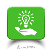 Light bulb on hand icon — Stock Vector