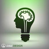 Bulb in head icon — Stock Vector