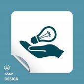 Light bulb in hand icon — Stock Vector