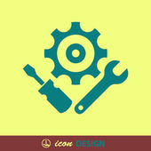 Gear, wrench and screwdriver icons — Stock Vector