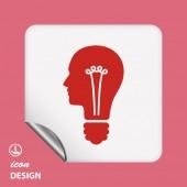 Żarówki w głowa ikona — Wektor stockowy