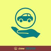 Car in hand icon — Stockvektor