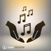 Music notes in hands icon — Stock Vector