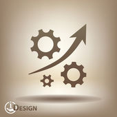 Gear with growth arrow icon — Stock Vector
