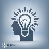 Light bulbs in head icon — Vector de stock