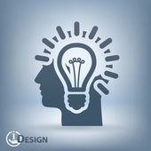 Light bulbs in head icon — Stockvector