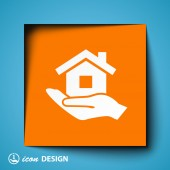 Home on hand icon — Vetor de Stock