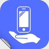 Мобильный телефон в руках икону — Cтоковый вектор