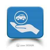 Car in hand icon — Stock Vector