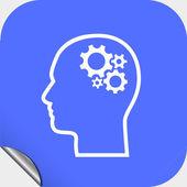 Gear in head icon — Stockvektor