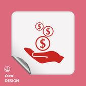 Money in hand icon — Stockvektor