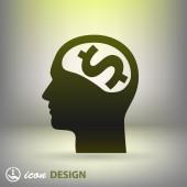 Money in head icon — Stock Vector