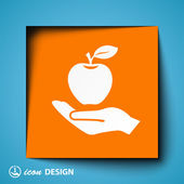 Apple on hand icon — Stock Vector