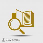 Book with magnifying glass icon — Stock Vector