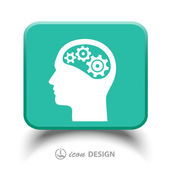 Gear in head icon — Stock Vector