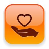 Heart in hand icon — Vetor de Stock