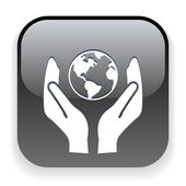 Globe in hands icon — Stockvector