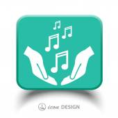 Music notes in hands icon — Stockvector
