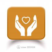 Pictograph of heart in hands — Stockvector