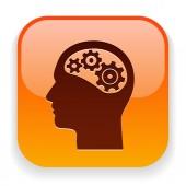 Gear in head icon — Stok Vektör