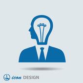 Light bulbs in head icon — Stockvektor