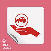 Auto in pictogram van een hand — Stockvector
