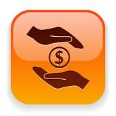Money in hands icon — Stockvector