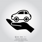 Car in hand icon — Stockvector