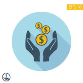 Pictograph of money in hand — Stock Vector