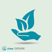 Leaves on hand icon — Stock Vector