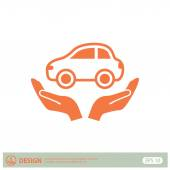 Pictograph of car on hands — Stock Vector