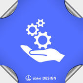 Gears on hand icon — Stock Vector
