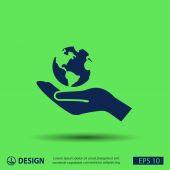 Globe on hand icon — Wektor stockowy