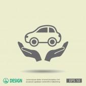 Pittogramma di auto sulle mani — Vettoriale Stock