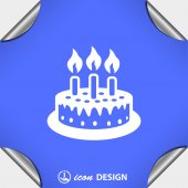 Cake with candles icon — Stock Vector