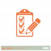 Pictograph of checklist and pen — Stock Vector