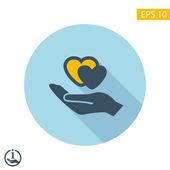 Ikony Symbols serc w ręku — Wektor stockowy