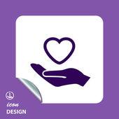 Pictograph van hart in hand — Stockvector
