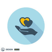 Pictograph of hearts in hand — Stock Vector