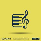 Music key and keyboard — Stock Vector