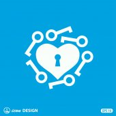 Pictograph of heart with keys — Stock Vector