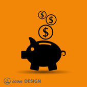 Pictograph of moneybox   icon — Stock Vector