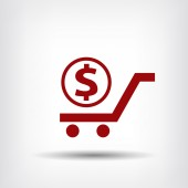 Pictograph of money on cart — Stockvector