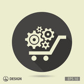 Pictograph of gears on cart — Stockvector