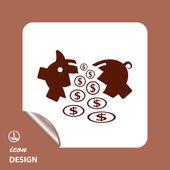 Pictograph of broken moneybox — Vecteur