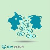 Pictograph of broken moneybox — Stock Vector