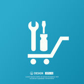 Pictograph of tools on cart — Stock Vector