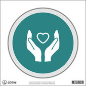 Pictograph of heart in hands — Stock Vector