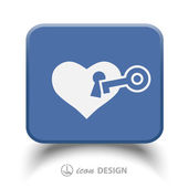 Pictograph of heart with key — Stock Vector