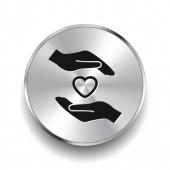 Pictograph of heart in hands — Stok Vektör